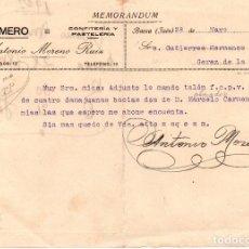 Cartas comerciales: MEMORANDUM. ANTONIO MORENO RUIZ. EL ESMERO. CONFITERÍA Y PASTELERÍA. JAEN 1927. Lote 105876059