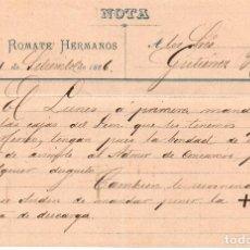 Cartas comerciales: MEMORANDUM. SANCHEZ ROMATE HERMANOS. JEREZ 1886. Lote 105884895
