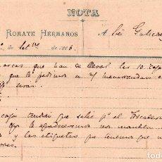 Cartas comerciales: MEMORANDUM. SANCHEZ ROMATE HERMANOS. JEREZ 1886. Lote 105885019