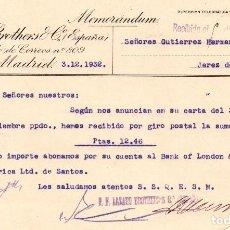 Cartas comerciales: MEMORANDUM. LAZARD BROTHERS & Cº ESPAÑA. MADRID 1932. Lote 105897871