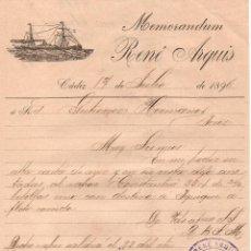 Cartas comerciales: MEMORANDUM. RENÉ ARQUIS. CÁDIZ 1896. Lote 105982351