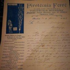 Cartas comerciales: PIROTECNIA FERRE. 1914.. Lote 106593630