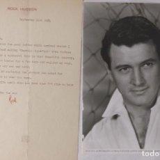 Cartas comerciales: ROCK HUDSON CARTA FIRMADA CON FOTO, 1954. Lote 107538811