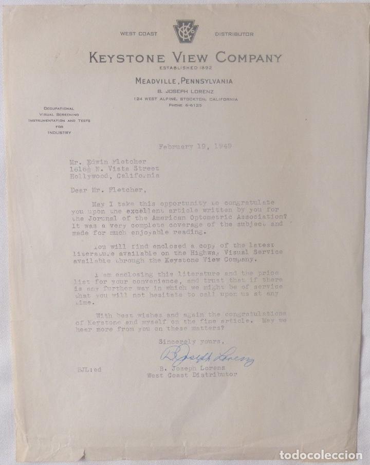 B.JOSEPH LORENZ SIGNED LETTER/1949/KEYSTONE VIEW COMPANY (Coleccionismo - Documentos - Cartas Comerciales)