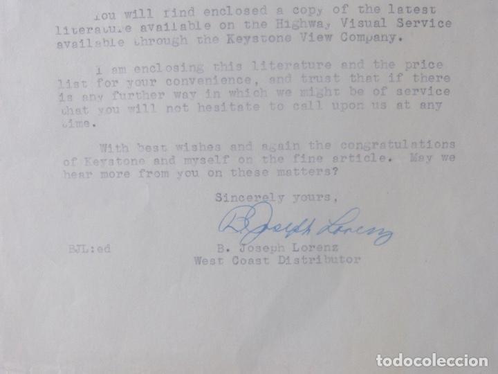 Cartas comerciales: B.Joseph Lorenz signed letter/1949/Keystone View Company - Foto 4 - 107751223