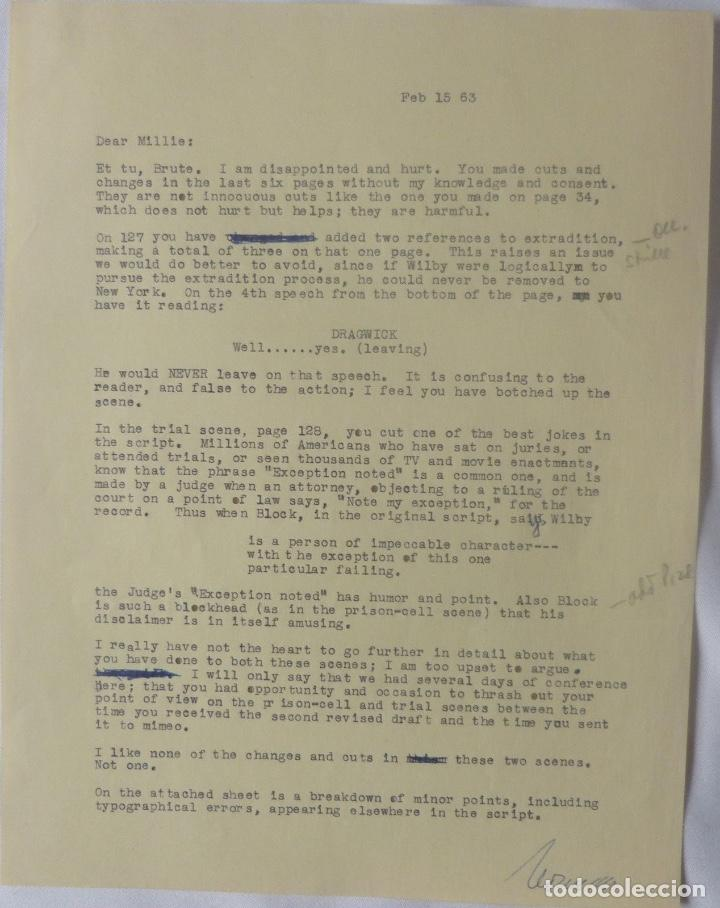 NORMAN CORWIN SIGNED LETTER/1963/WRITER TO MILLIE (Coleccionismo - Documentos - Cartas Comerciales)