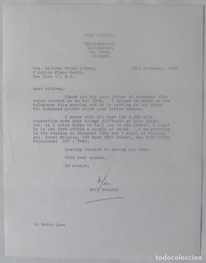 MARC BRANDEL LETTER SIGNED/1968 /RARE (Coleccionismo - Documentos - Cartas Comerciales)