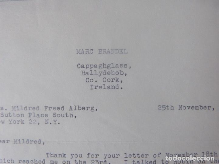Cartas comerciales: Marc Brandel letter signed/1968 /RARE - Foto 3 - 107847483