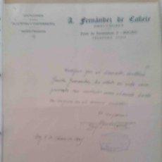 Cartas comerciales: A. FERNÁNDEZ DE CAÑETE. PLATERÍA. ORFEBRERÍA. MADRID. 1948. Lote 107934467