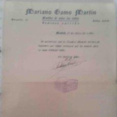Cartas comerciales: MUEBLES . MARIANO GAMO. MADRID. 1954. Lote 107934567