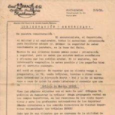 Cartas comerciales: CARTA COMERCIAL BRÚJULAS DE MARCHA BUSCH 1935 LENTES ÓPTICA OPTOMETRIA OFTALMOLOGÍA. Lote 108496731
