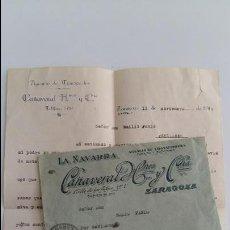 Cartas comerciales: CARTA LA NAVARRA CAÑAVERAL HERMANOS Y COMPAÑIA. AGENCIA DE TRANSPORTE ZARAGOZA. PANTICOSA 1919. Lote 108695899