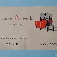 Cartas comerciales: ANTIGUA TARJETA COMERCIAL PUBICITARIA MUEBLES LUCAS ACEVEDO VINTAGE AÑOS 40 GENERAL PARDIÑAS MADRID.. Lote 108832763