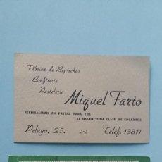 Cartas comerciales: 2 ANTIGUAS TARJETAS COMERCIALES PUBLICITARIAS REPOSTERIA PASTELERÍA AÑOS 40 TORRIJOS MADRID VINTAGE.. Lote 108839239