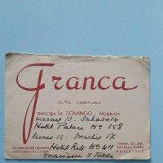 Cartas comerciales: 2 ANTIGUAS TARJETAS COMERCIALES PUBICITARIAS ALTA COSTURA FRANCA Y CUBAS AÑOS 40 MADRID VINTAGE.. Lote 108840243