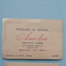 Cartas comerciales: 2 ANTIGUAS TARJETAS COMERCIALES PUBLICITARIAS PELETERÍA PELUQUERÍA AÑOS 40 LAGASCA MADRID VINTAGE.. Lote 108840755