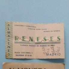 Cartas comerciales: 2 ANTIGUAS TARJETAS COMERCIALES PUBLICITARIAS ALMONEDA MUEBLES AÑOS 40 CASCORRO MADRID VINTAGE.. Lote 108841371
