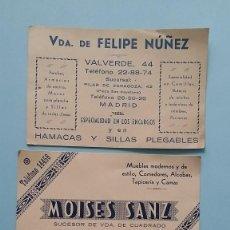 Cartas comerciales: 3 ANTIGUAS TARJETAS COMERCIALES PUBLICITARIAS MUEBLES AÑOS 50 RIBERA DE CURTIDORES MADRID VINTAGE.. Lote 108841535