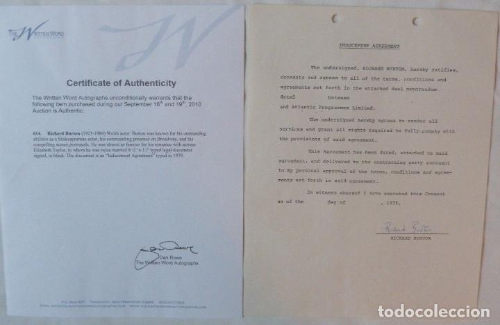 RICHARD BURTON SIGNED CONTRACT/1979/ 8 ½ X 11 (Coleccionismo - Documentos - Cartas Comerciales)