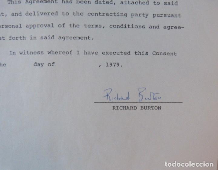 Cartas comerciales: Richard Burton signed contract/1979/ 8 ½ x 11 - Foto 4 - 109449623