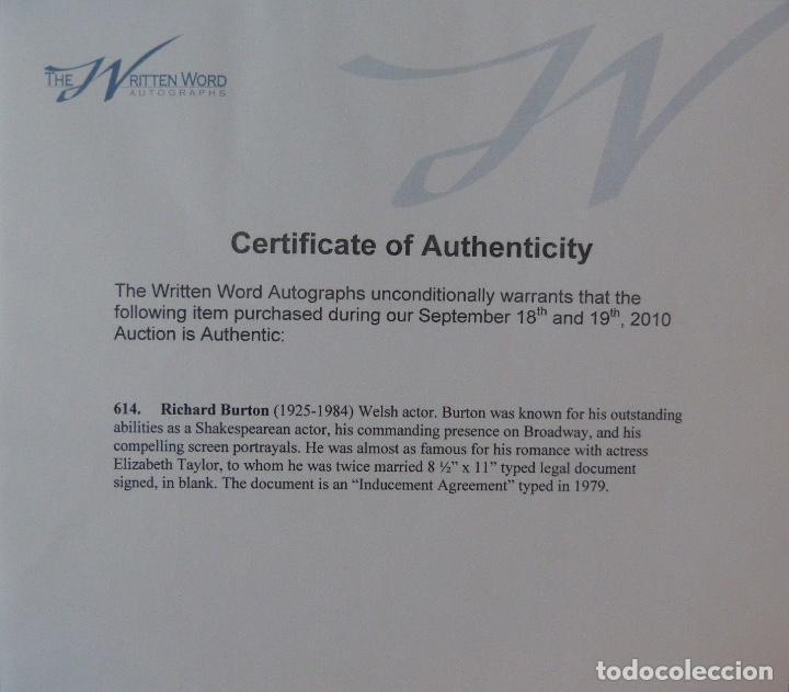 Cartas comerciales: Richard Burton signed contract/1979/ 8 ½ x 11 - Foto 6 - 109449623