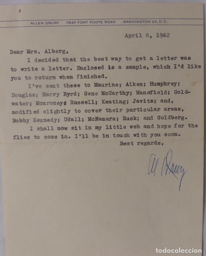 ALLEN DRURY SIGNED LETTER,APRIL 8, 1962 (Coleccionismo - Documentos - Cartas Comerciales)
