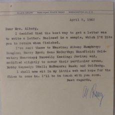 Cartas comerciales: ALLEN DRURY SIGNED LETTER,APRIL 8, 1962. Lote 110147219