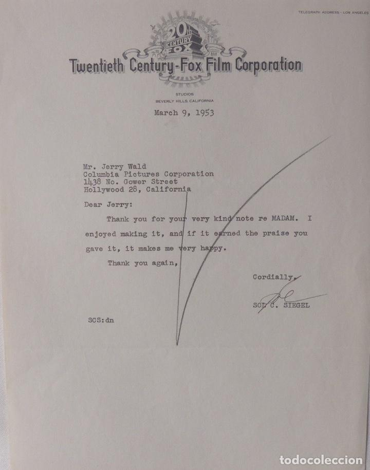SOL C.SIEGEL SIGNED LETTER,TWENTIETH CENTURY-FOX, MARCH 9, 1953 (Coleccionismo - Documentos - Cartas Comerciales)