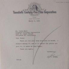 Cartas comerciales: SOL C.SIEGEL SIGNED LETTER,TWENTIETH CENTURY-FOX, MARCH 9, 1953. Lote 110150803