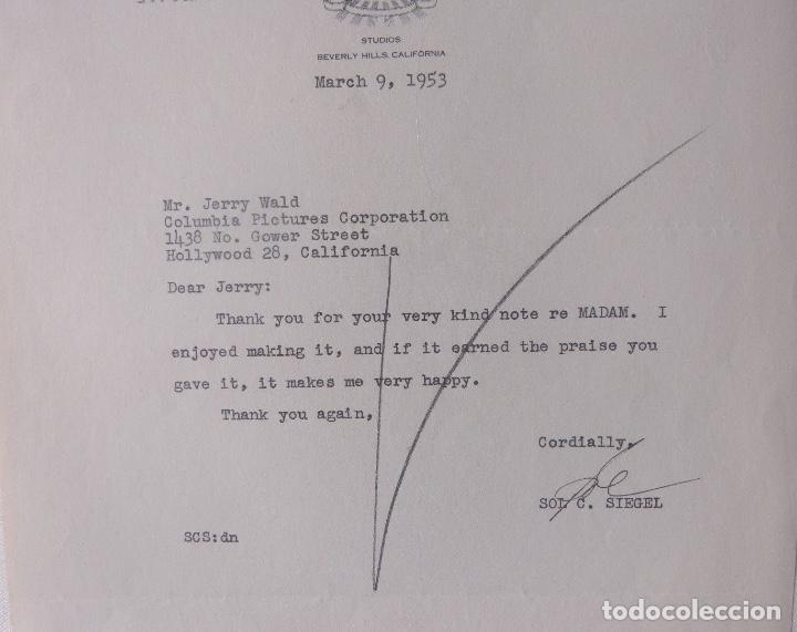 Cartas comerciales: Sol C.Siegel signed letter,Twentieth Century-Fox, March 9, 1953 - Foto 2 - 110150803