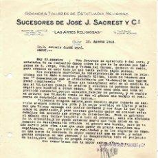 Cartas comerciales: OLOT - SUCESORES DE JOSÉ J. SACREST Y CIA - GRANDES TALLERES DE ESTATUARIA RELIGIOSA - FECHADA 1943. Lote 110393203