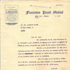 Cartas comerciales: OLOT - FRANCISCO PUJOL MOLINÉ - TALLERES DE ESTATUARIA RELIGIOSA EL BUEN PASTOR - FECHADA 1943. Lote 110395955