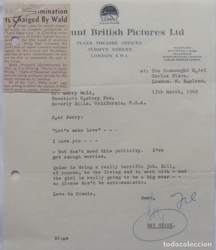 RAY STARK SIGNED LETTER,1960, PARAMOUNT BRITISH PICTURES. (Coleccionismo - Documentos - Cartas Comerciales)