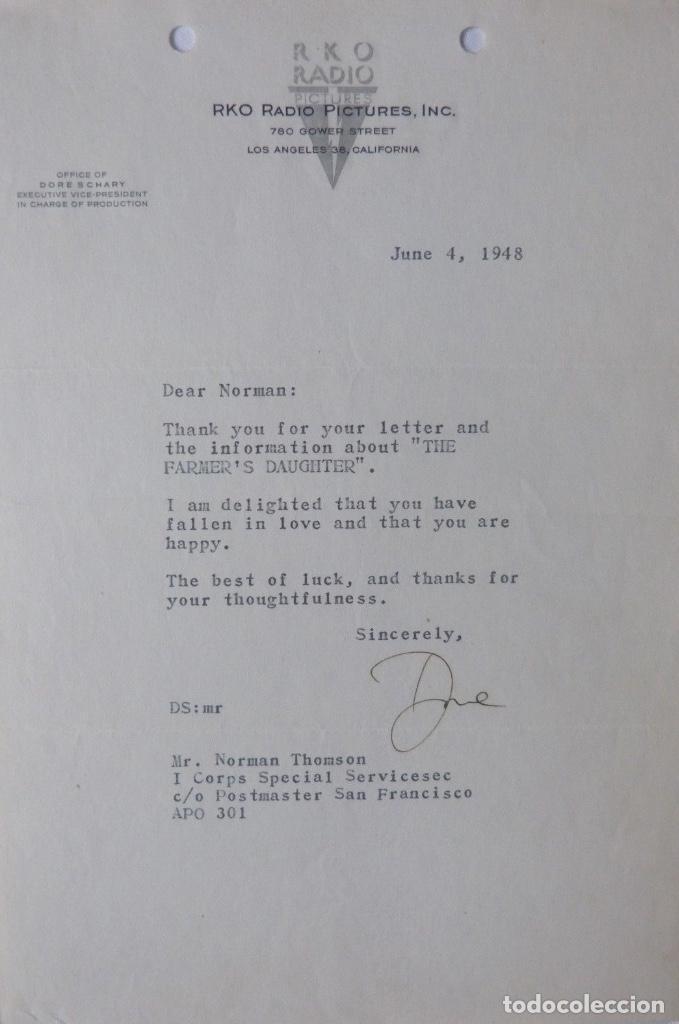 DORE SCHARY SIGNED LETTER, JUNE 4, 1948 (Coleccionismo - Documentos - Cartas Comerciales)