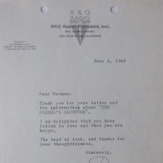 Cartas comerciales: DORE SCHARY SIGNED LETTER, JUNE 4, 1948. Lote 110757775