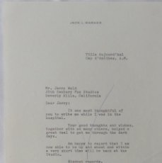 Cartas comerciales: JACK L. WARNER WRITER TO JERRY WALD SIGNED LETTER.. Lote 110832439