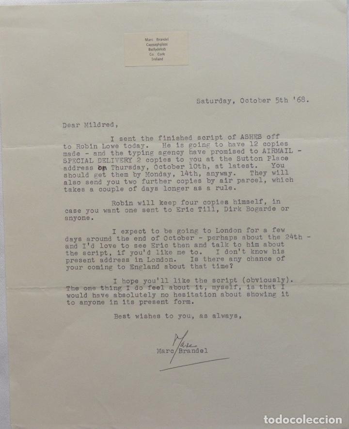MARC BRANDEL SIGNED LETTER, OCTOBER 5 TH, 1968 (Coleccionismo - Documentos - Cartas Comerciales)