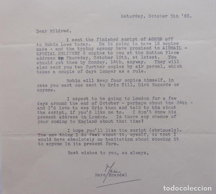 Cartas comerciales: Marc Brandel signed letter, October 5 th, 1968 - Foto 2 - 110836271