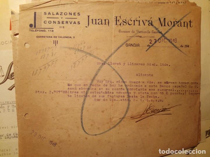 GANDIA FACTURA RECIBO JUAN ESCRIVA MORANT AÑO 1948 (Coleccionismo - Documentos - Cartas Comerciales)