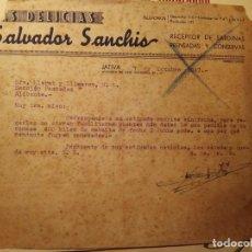 Cartas comerciales: JATIVA DOS CARTAS COMERCIALES AÑOS 40-50 TAL FOTOS. Lote 111060347