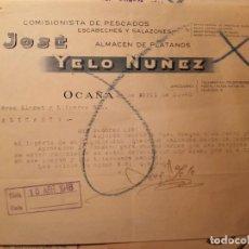 Cartas comerciales: OCAÑA CARTA COMERCIAL AÑO 1948 - JOSE YELO NUÑEZ COMERCIANTE PESCADOS. Lote 111060547