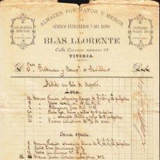 Cartas comerciales: ,,,PEDIDO MANUSCRITO DE BLAS LLORENTE, VITORIA A FÁBRICA LOZA LA CARTUJA . Lote 111193951