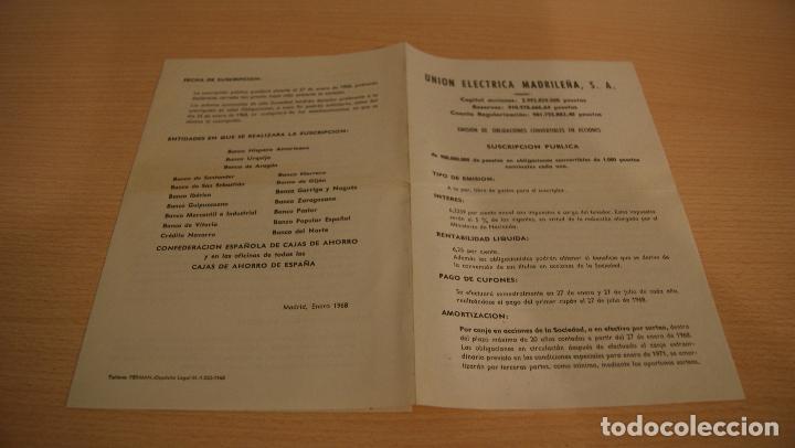 CARTA UNION ELECTRICA MADRILEÑA, S.A. Y EMISIÓN DE OBLIGACIONES ACCIONES COMPAÑIA AÑO 1968 (Coleccionismo - Documentos - Cartas Comerciales)