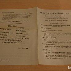 Cartas comerciales: CARTA UNION ELECTRICA MADRILEÑA, S.A. Y EMISIÓN DE OBLIGACIONES ACCIONES COMPAÑIA AÑO 1968. Lote 111397239