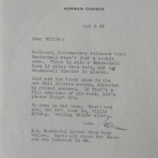 Cartas comerciales: NORMAN CORWIN SIGNED LETTER, OCT 5, 1963. Lote 113398651