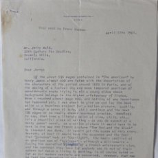 Cartas comerciales: CURTIS BERNHARDT SIGNED LETTER,2 PAGES, APRIL 17TH, 1961.. Lote 113515947