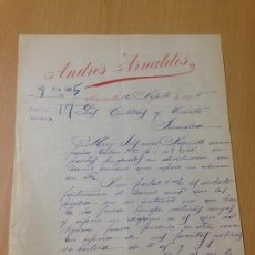 Cartas comerciales: ANTIGUA CARTA COMERCIAL VINOS ALCOHOLES ARNALDOS ALCANTARILLA MURCIA. Lote 114369795