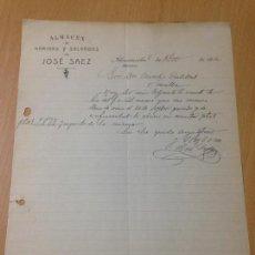 Cartas comerciales: ANTIGUA CARTA COMERCIAL HARINAS Y SALVADOS JOSE SÀEZ ALCANTARILLA MURCIA 1910. Lote 114371843