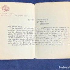 Cartas comerciales: HOTEL MARIA CRISTINA SAN SEBASTIÁN 1941 REBAJA DEPARTAMENTO DIRECTOR REMO BIANCHINI COMERCIAL. Lote 114450159