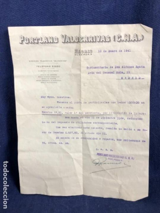 PORTLAND VALDERRIVAS C.M.A. MADRID 1941 ABONO INTERESES EN CUENTA TESTAMENTARIA (Coleccionismo - Documentos - Cartas Comerciales)
